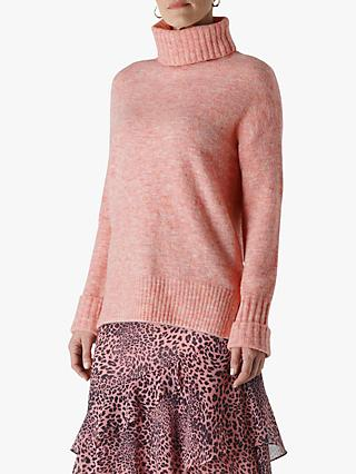 Whistles Oversized Roll Neck Jumper, Pale Pink