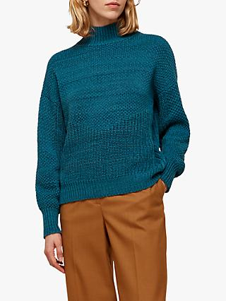 Whistles Moss Stitch Textured Jumper, Teal