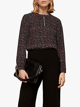 Whistles Starflower Print Top, Black/Multi