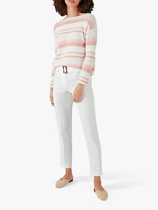 Pure Collection Linen Belted Skinny Trousers, White