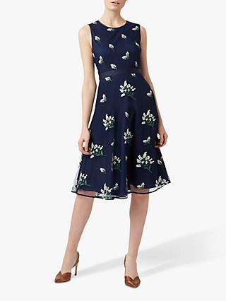 Hobbs Petite Julia Floral Dress, Midnight
