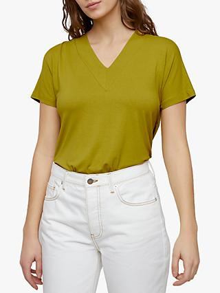 Jigsaw Slouchy V-Neck Tee, Pale Olive