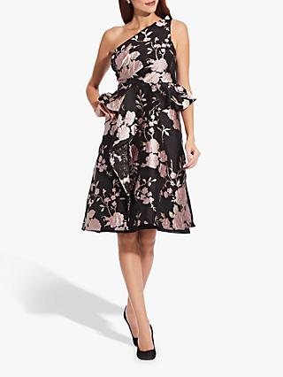 Adrianna Papell Jacquard One Shoulder Dress, Black/Pink