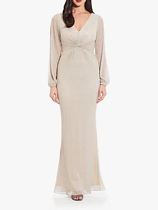 Adrianna Papell Glitter Draped Gown, Light Champagne