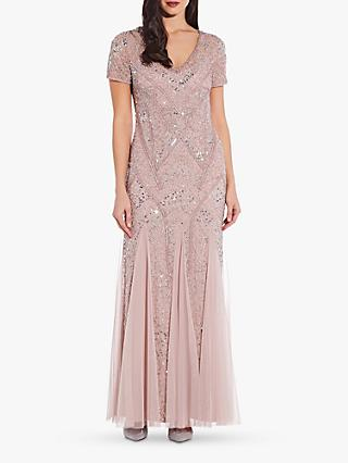 Adrianna Papell Beaded Godet Gown, Cameo
