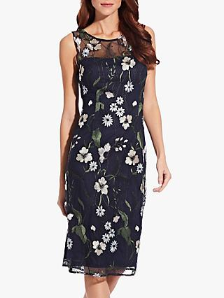 Adrianna Papell Pastel Paradise Embroidered Dress, Navy/Multi