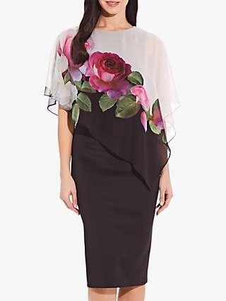 Adrianna Papell Floral Chiffon Cape Dress, Black/Multi
