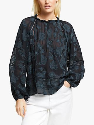 Joie Chaylse Jacquard Smock Embroidered Floral Print Blouse, Deep Sea