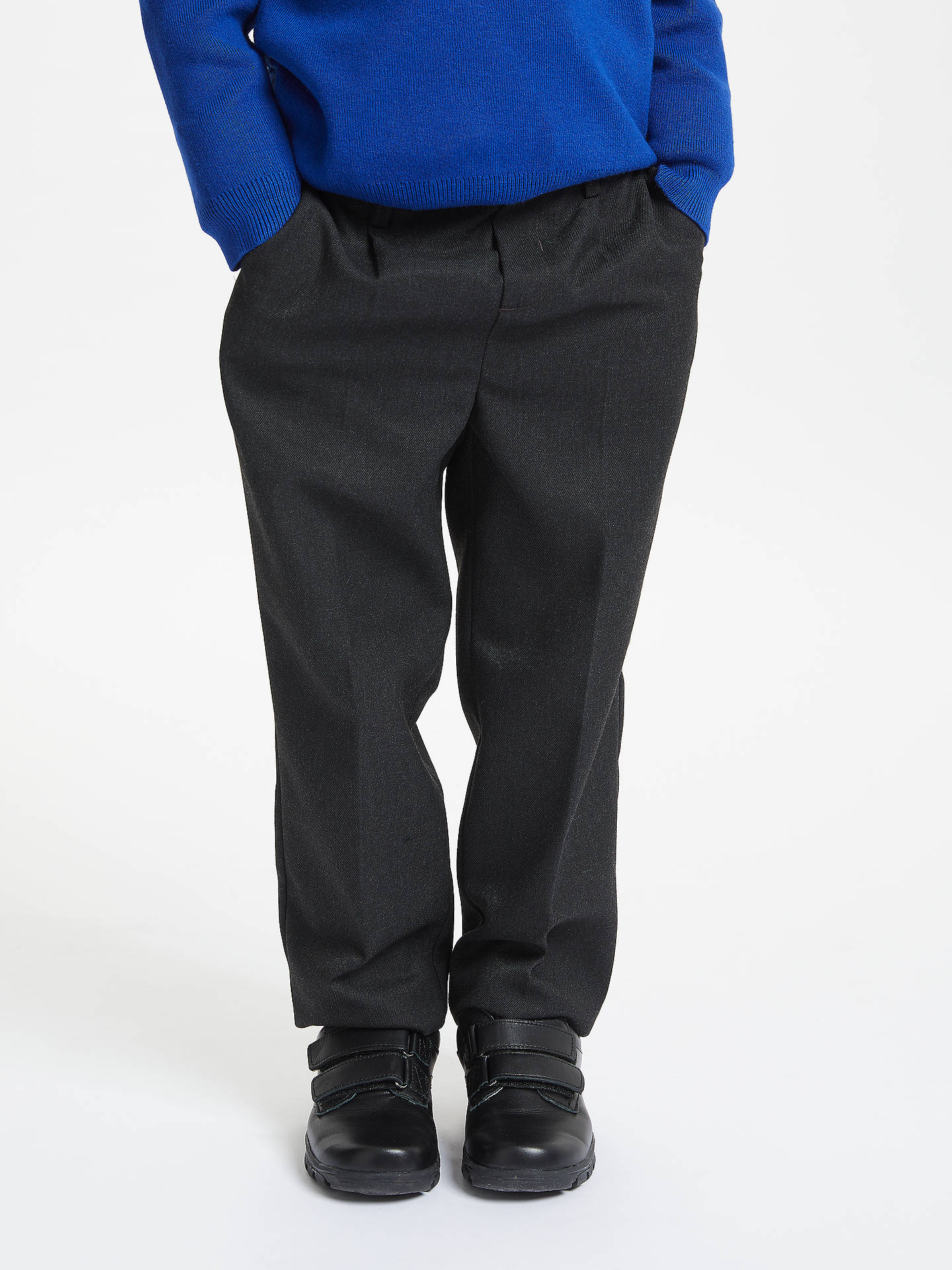 Buy John Lewis & Partners Boys' Regular Fit Adjustable Waist School Trousers, Charcoal, 3 years Online at johnlewis.com