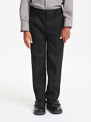 John Lewis & Partners Boys' Regular Fit Adjustable Waist School Trousers, Charcoal