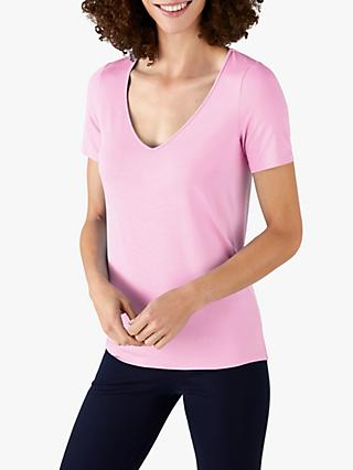Pure Collection Jersey V-Neck Short Sleeve Top, Orchid Pink