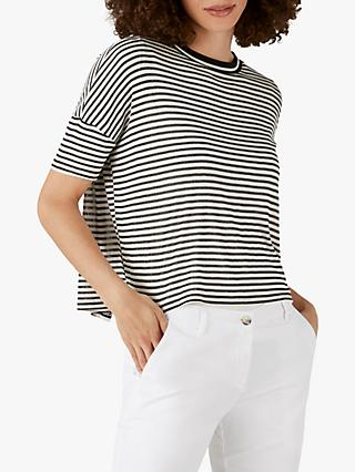 Pure Collection Stripe Split Back Top, Black/Ivory