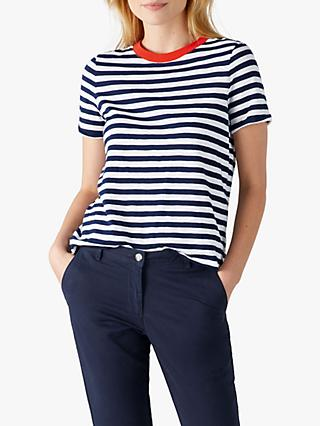 Pure Collection Soft Cotton Jersey Stripe T-Shirt, Navy/White