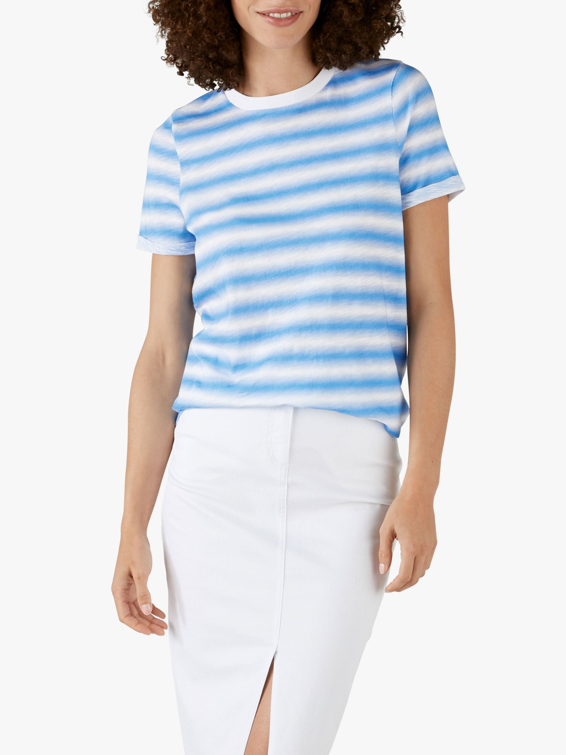 Pure Collection Pure Collection Striped Cotton Jersey T-Shirt, Blue Ombre