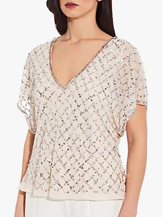 Adrianna Papell Beaded Flutter Sleeve Top, Champagne