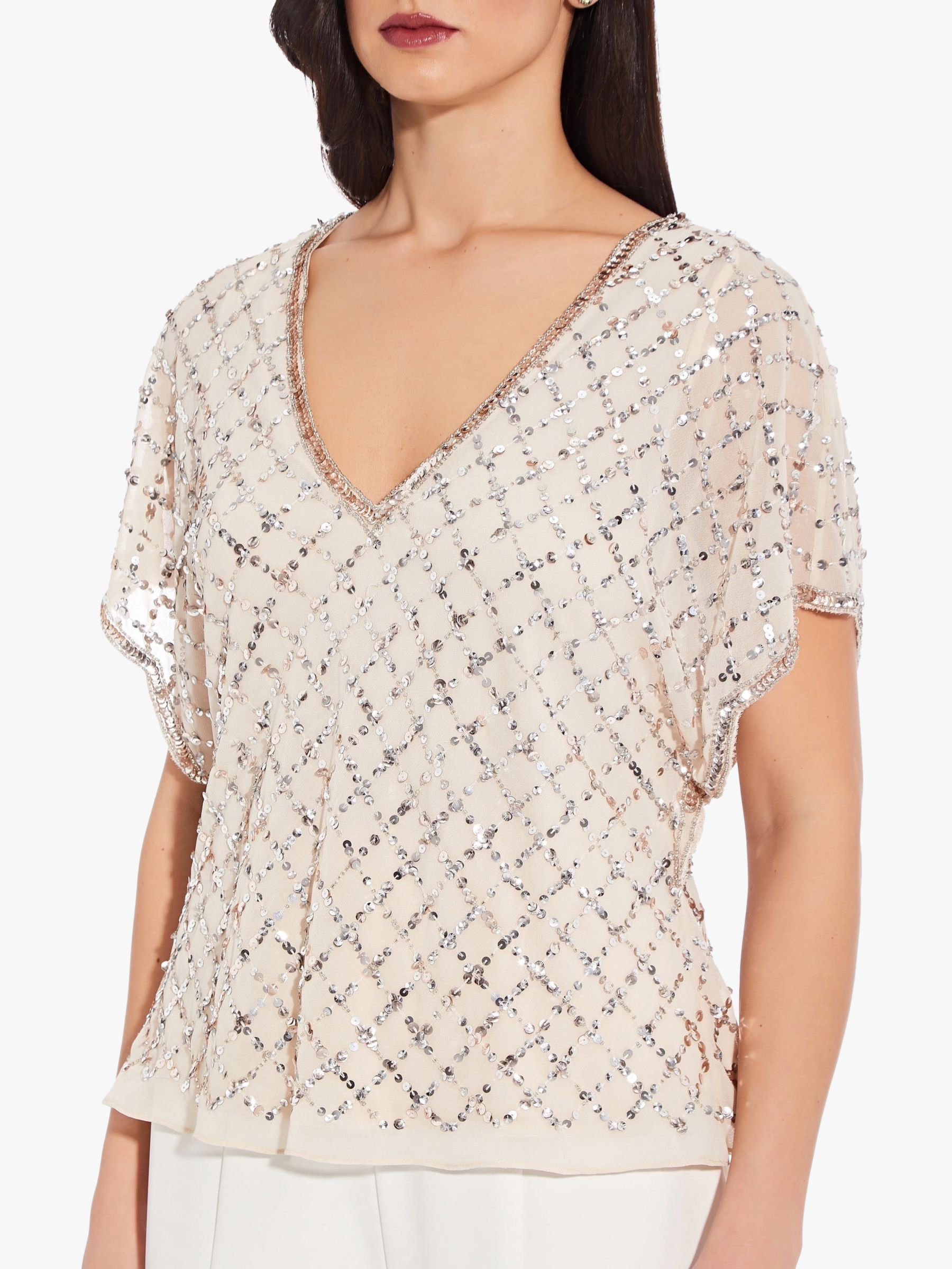 Adrianna Papell Adrianna Papell Beaded Flutter Sleeve Top, Champagne