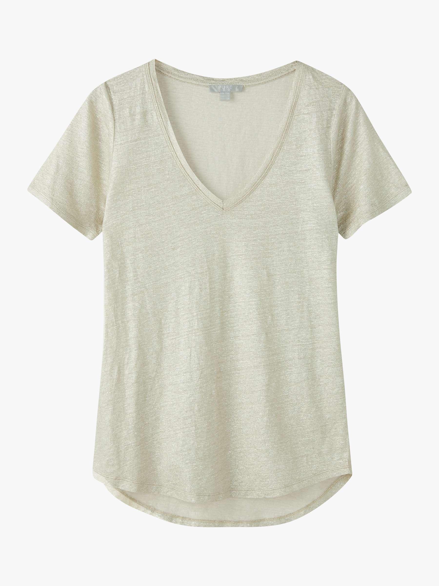 Linen jersey V-neck short sleeve top