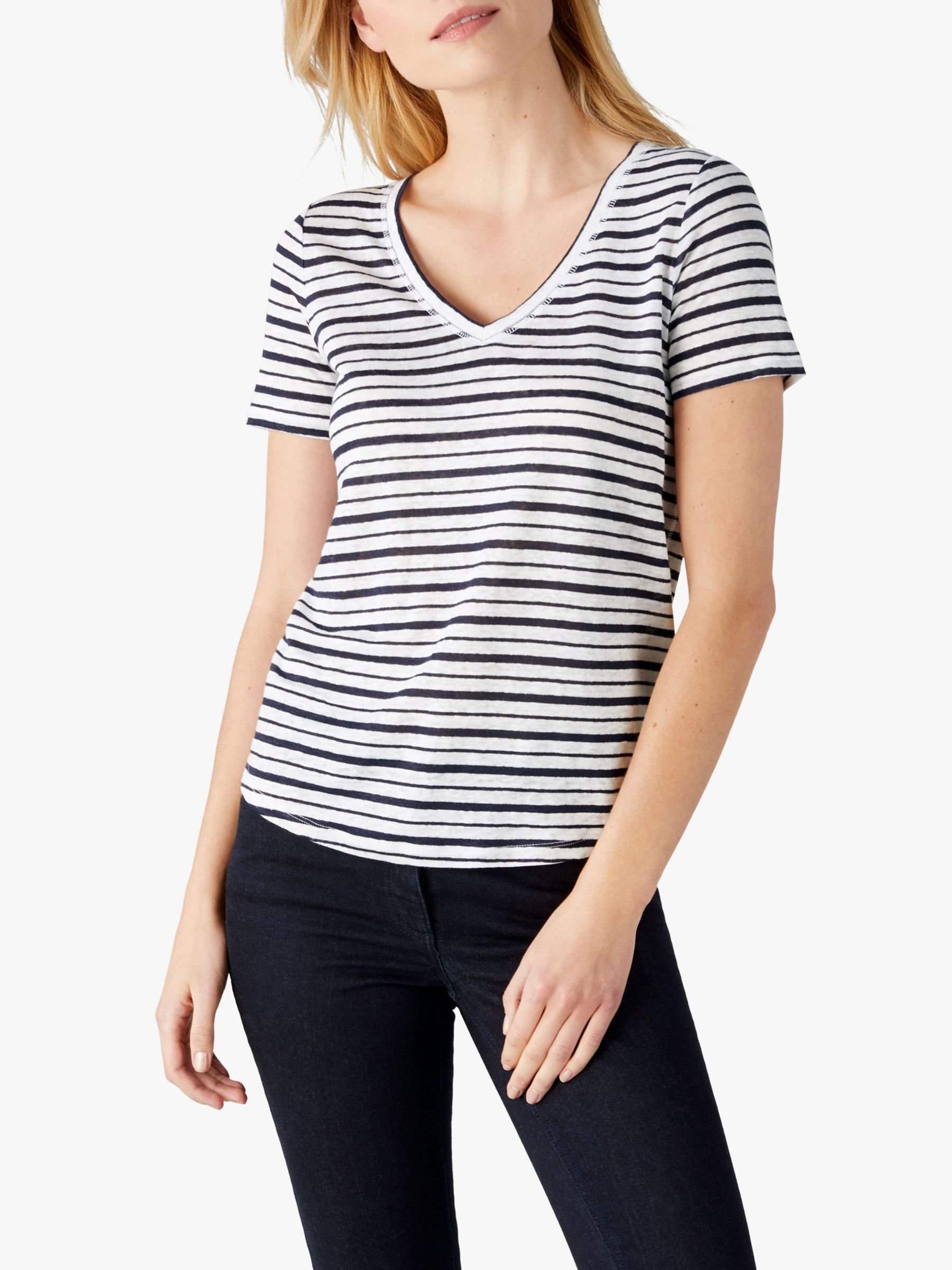 Pure Collection Pure Collection Striped Linen Jersey T-Shirt, Navy/White