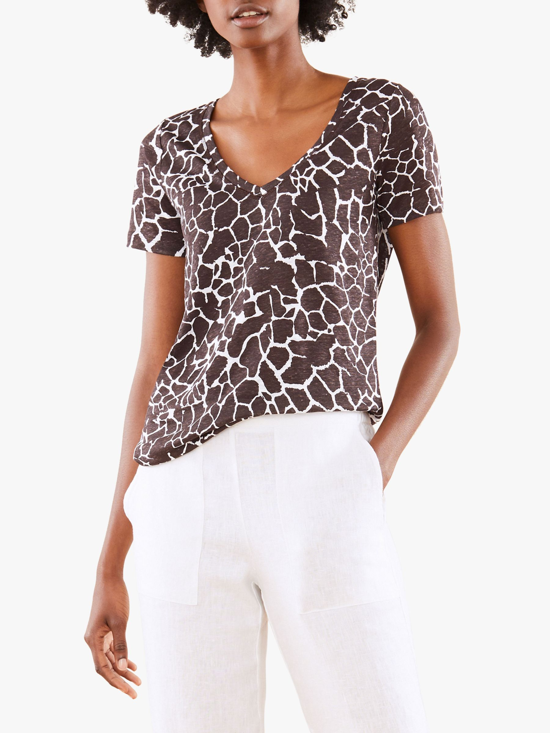 Pure Collection Pure Collection Linen Jersey T-Shirt, Giraffe Print