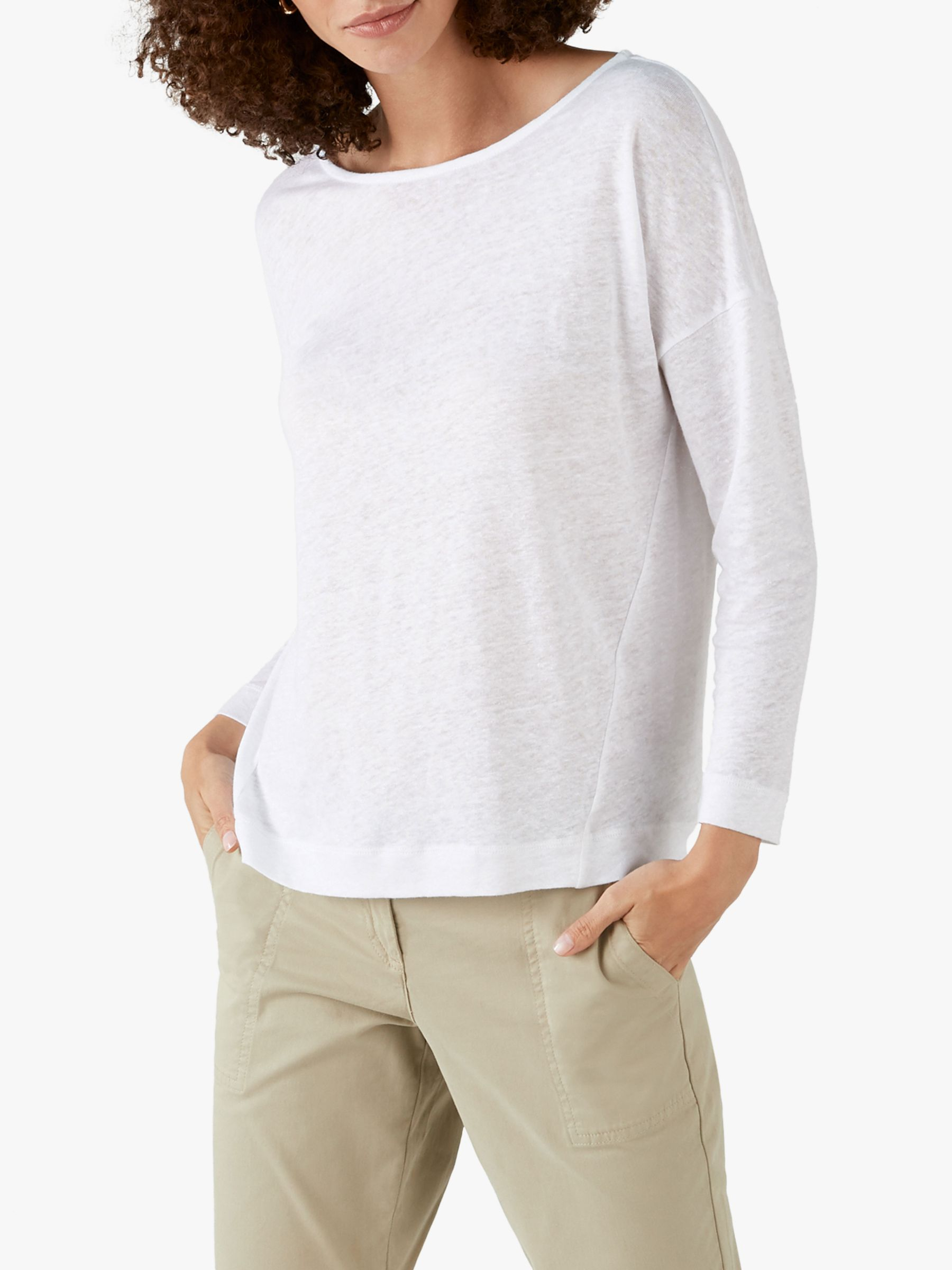 Pure Collection Pure Collection Linen Long Sleeve Jersey Top, Off White