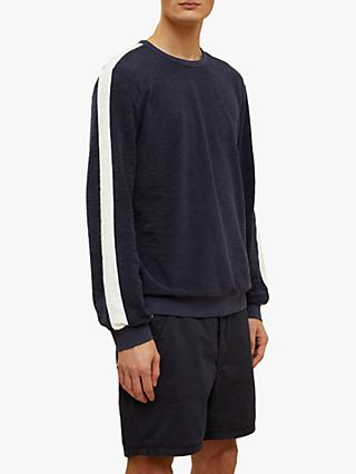 Jigsaw Grant Towelling Crew Neck Sweatshirt, Navy