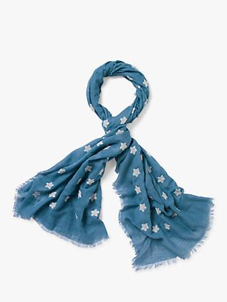 White Stuff Embroidered Star Scarf, Lagoon Blue Print
