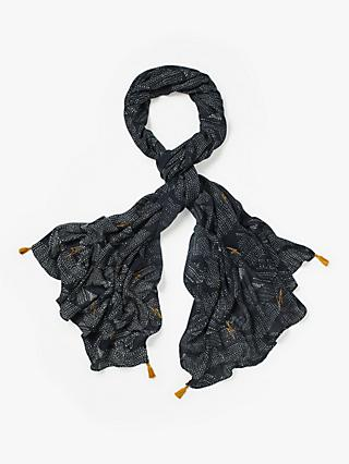White Stuff Verity Print Scarf, Dusty Navy