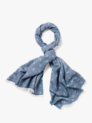 White Stuff Spot Recycled Midweight Scarf, Lagoon Blue