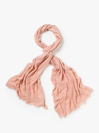 White Stuff Foil Leaf Dreaming Away Scarf, Sorrel Pink Print