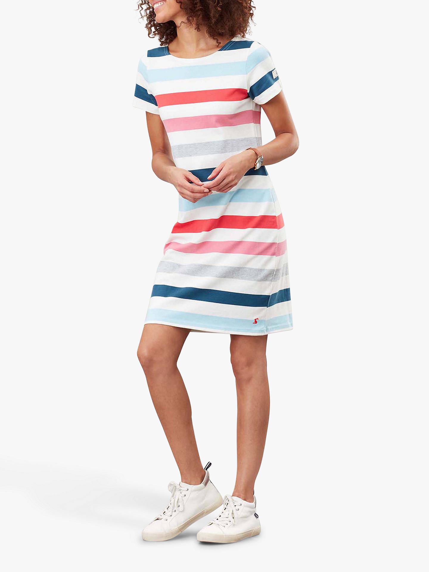 Buy Joules Riviera Striped Jersey Dress, Cream Pink Stripe, 6 Online at johnlewis.com