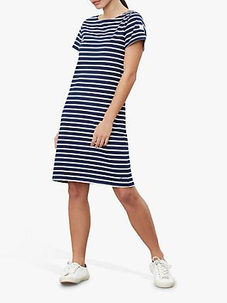 Joules Riviera Striped Jersey Dress, Navy/Cream