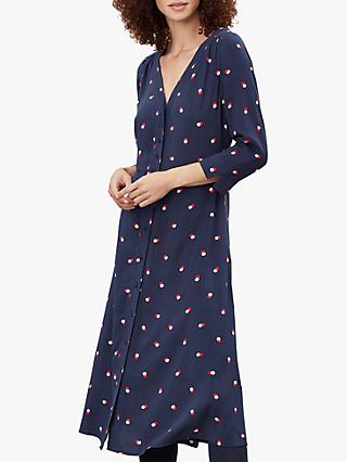 Joules Genevieve V-Neck Spot Print Dress, Navy Pink Spot