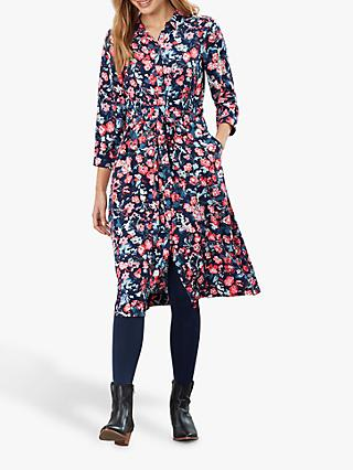 Joules Winslet Floral Shirt Dress, Navy/Multi