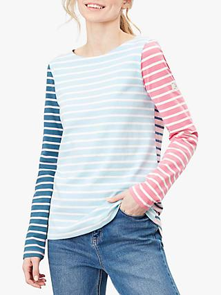 Joules Harbour Jersey Cotton Long Sleeve Top, Blue/Cream