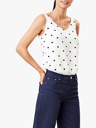 Joules Kyra V Neck Camisole Top, Cream Spot