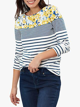 Joules Harbour Print Jersey Top, Cream/Blue Florals