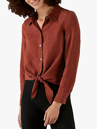 Pure Collection Linen Tie Hem Shirt, Terracotta