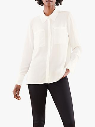 Pure Collection Relaxed Silk Contrast Stitch Blouse, Ivory