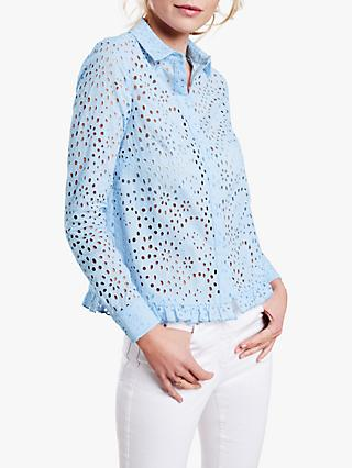 Pure Collection Broderie Cotton Shirt, Pale Blue