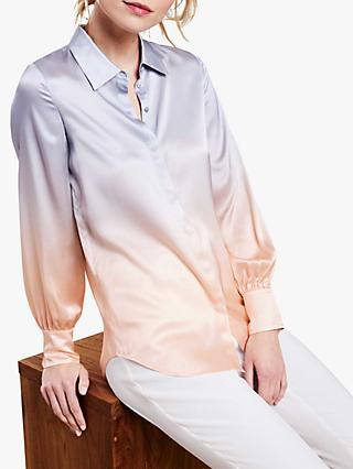Pure Collection Silk Ombre Blouse, Peach Ombre