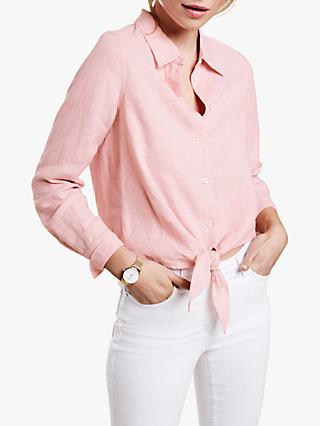 Pure Collection Linen Tie Hem Shirt, Peach Blush