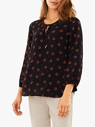 Pure Collection Tie Neck Blouse, Foulard Print
