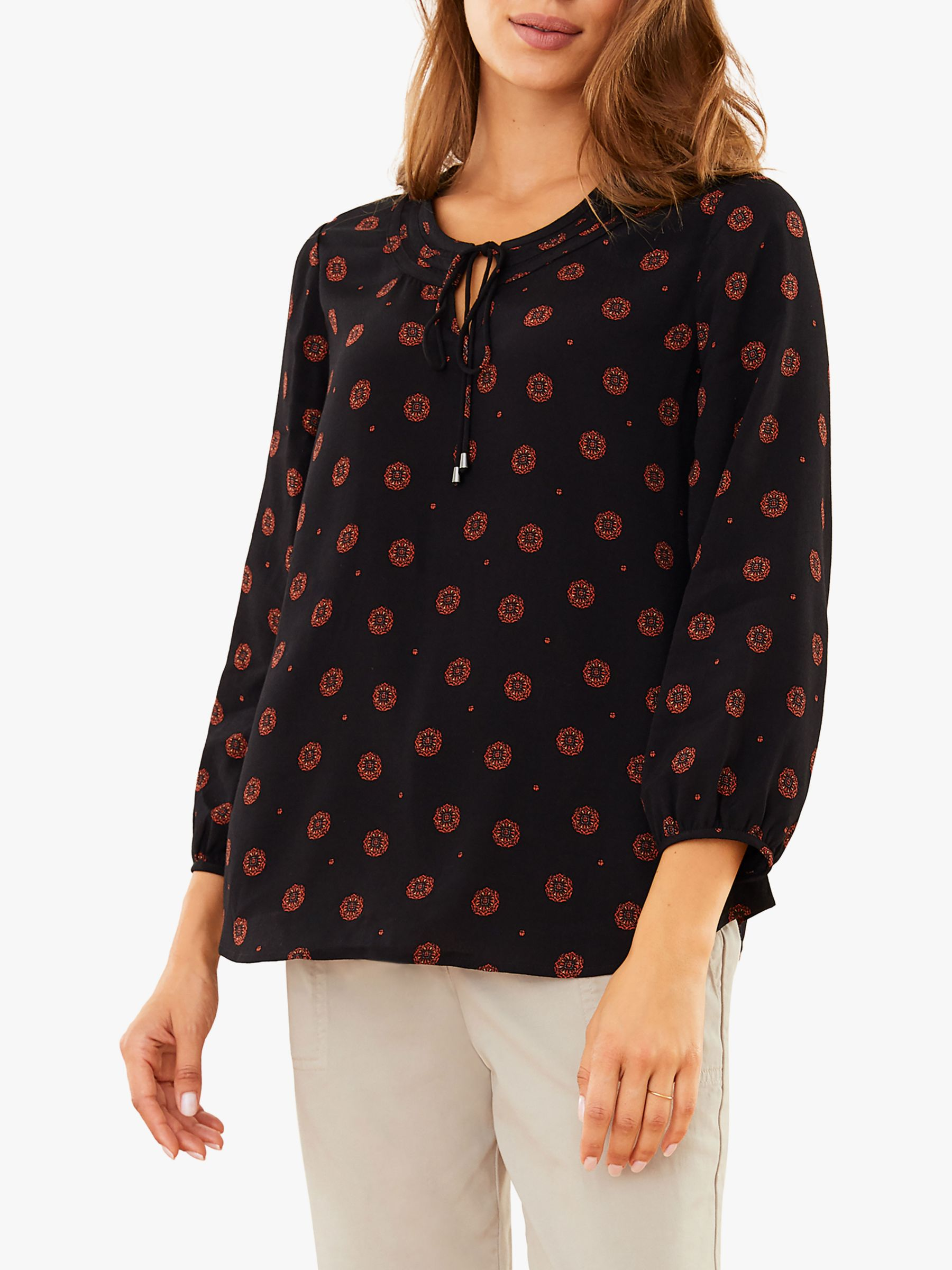 Pure Collection Pure Collection Tie Neck Blouse, Foulard Print