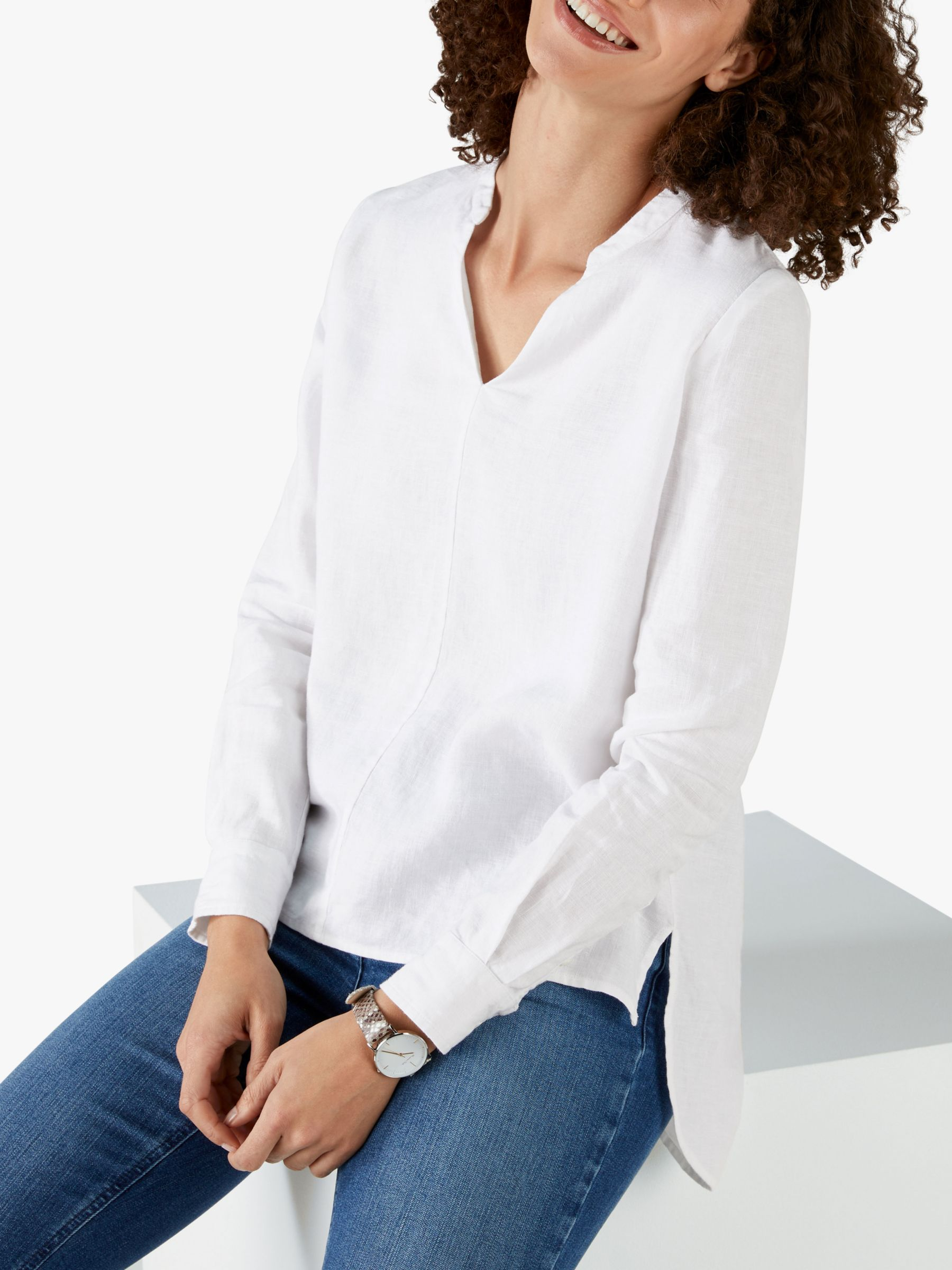 Pure Collection Pure Collection Linen V-Neck Overshirt, White