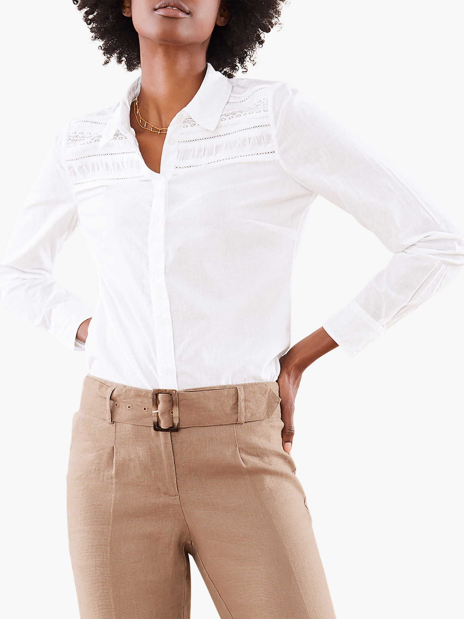Pure Collection Pure Collection Lace Trim Shirt, White