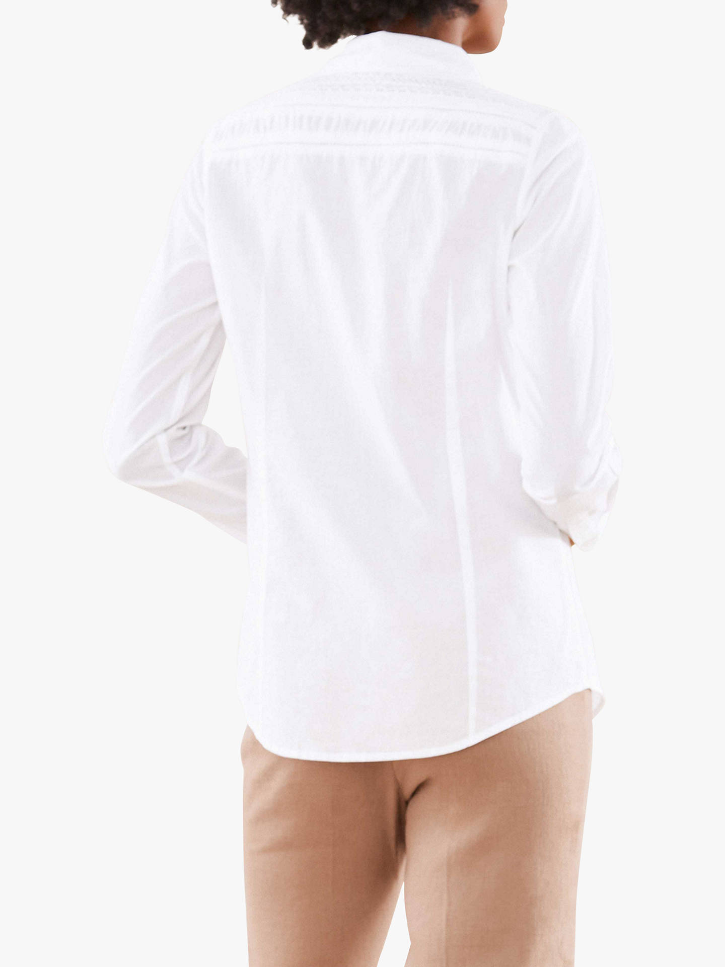 Buy Pure Collection Lace Trim Shirt, White, 8 Online at johnlewis.com