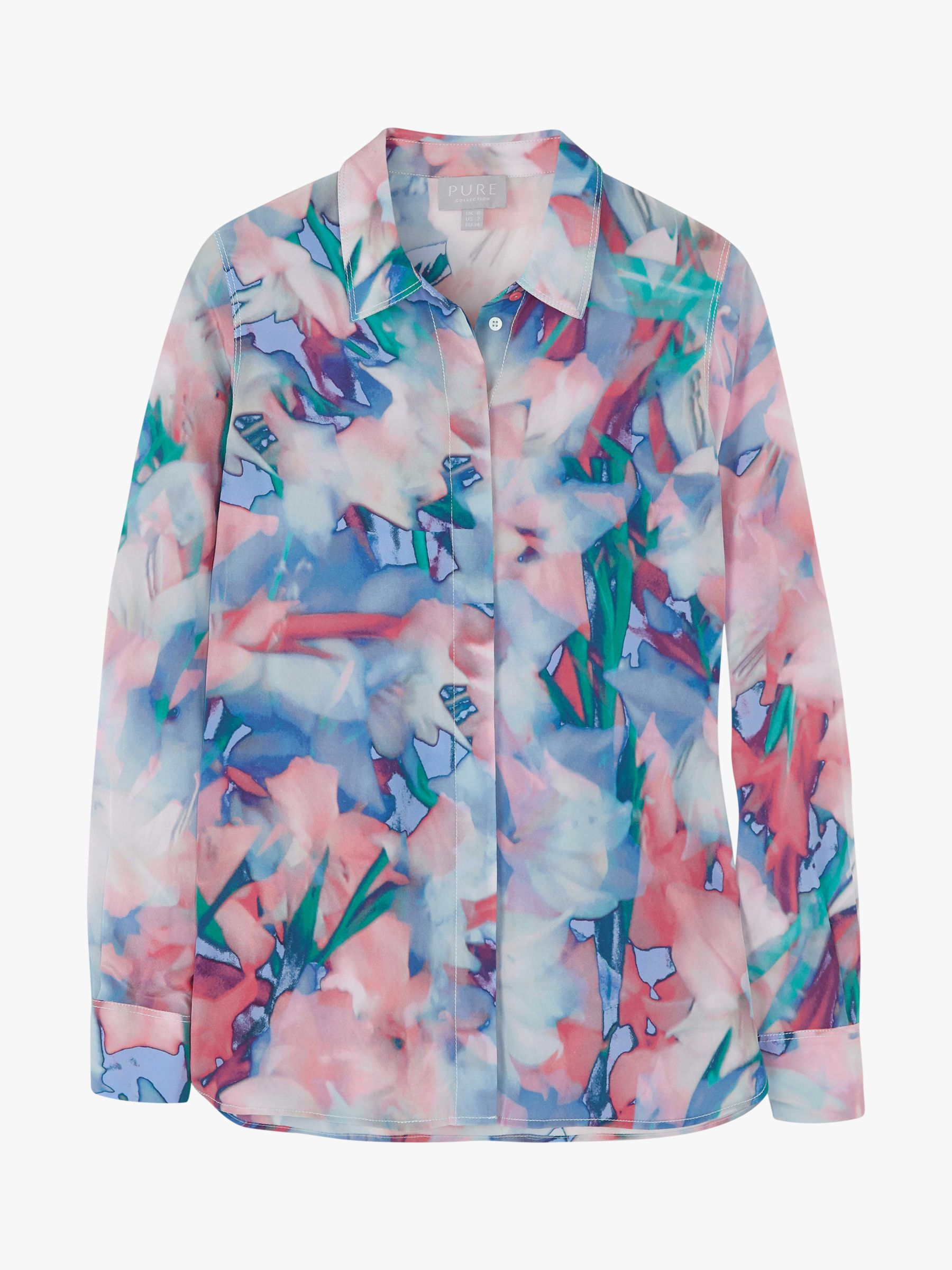 Pure Collection Pure Collection Relaxed Abstract Silk Blouse, Multi