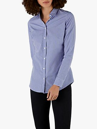 Pure Collection Cotton Shirt, Blue Gingham