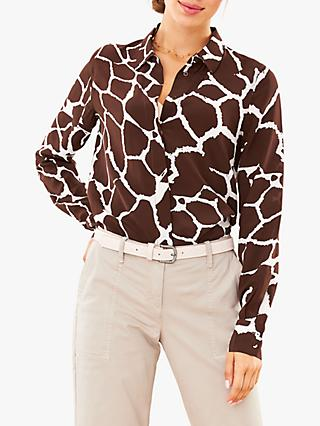 Pure Collection Animal Print Relaxed Silk Blouse, Giraffe Print