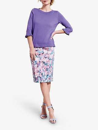 Pure Collection Floral Pencil Skirt, Pink/Multi